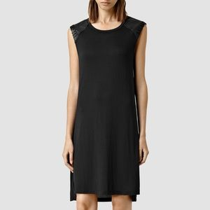 AllSaints Petra dress with leather capped shoulder